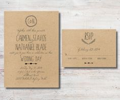 Rustic Wedding Invitation and RSVP DIY by SimplyFetchingPaper, $28.00