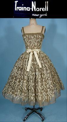 c. 1955 RARE TRAINA-NORELL, New York Organdy  and Embroidered Party Dress with Original Petticoat Underpinning