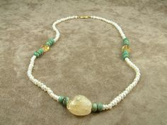 White Pearl Necklace with Citrine and Jade Κολιέ με by AkoyaPearls, €24.00
