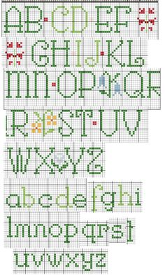 Upper & lowercase alphabet x-stitch chart  cross stitch alphabet spring…