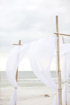 white-linen-canopy-wedding-ceremony-decorations - Once Wed .to the beach Diy Jardin, Beach Please, Beach Canopy, Wedding Canopy, Wedding Ceremony Decorations, Wedding Decor, Am Meer, Shades Of White, Island Weddings