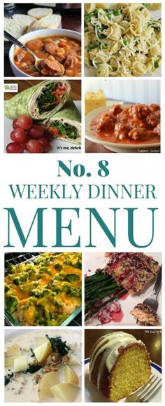 We're making your meal planning easier with 7 dinners and a dessert! It's our weekly dinner menu!