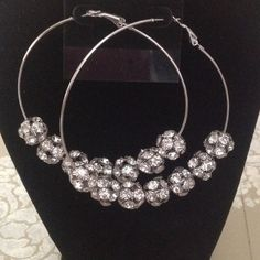 really cute earringsgreat gift idea Silver hoops with crystals on hoops in little balls so cute Jewelry Earrings