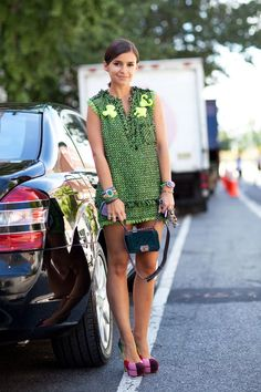 STREET STYLE SPRING 2013: NYFW - It's a tweed moment in green for Miroslava Duma