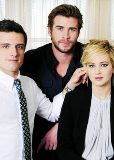 "Jennifer Lawrence, Liam Hemsworth and Josh Hutcherson ""Catching Fire"" portraits > Haha. I love where Josh's hand is."