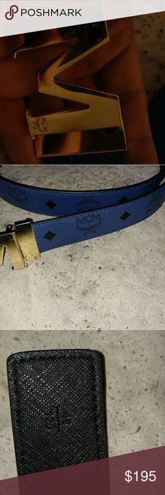MCM Belt Blue. Gold M.  Buy both belts for 300 or offer MCM Accessories Belts