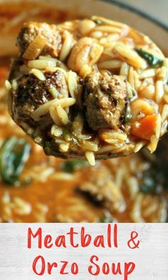 This soup is a take on the classic comfort food Spaghetti Orzo Soup, Spaghetti And Meatballs, Turkey Meatballs, Chilis, One Pot Meals, Fruits And Veggies, Food Hacks, Instant Pot, Food Processor Recipes