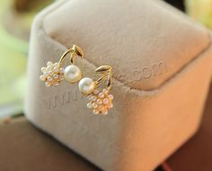 Plastic Pearl Zinc Alloy Earring with ABS Plastic Pearl stainless steel post pin Cherry gold color plated nickel lead cadmium free 15x12mm - Milky Way Jewelry