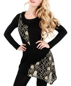 Look what I found on #zulily! Black & Beige Floral Lace Scoop Neck Tunic #zulilyfinds