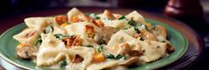 chicken amp bacon farfalle with spinach amp mushrooms