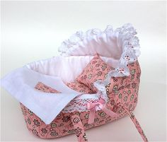 Doll Bassinet for for 5 inches OOAK baby doll/ Doll bassinet with floral print/Childfriendly toy doll crib, doll accessory by AnnaToys on Etsy