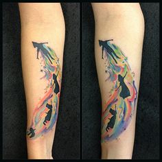 After many years browsing around #fyeahtattoos I can finally post my own, I love Peter Pan, for me it represents the first ride I ever rode in Disneyland, my passion for London andof coursethe never wanting to grow up. The colors are part of how I see the world, always colorful and hopeful. This was done at @barberiatattoo by @octaviotattoo in Caracas, Venezuela.