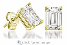 Cubic Zirconia CZ Studs Carat Emerald Step Cut Earrings Yellow Gold By Ziamond. The Emerald Step Cut Stud Earrings by Ziamond are featured with a carat cubic zirconia for a total carat weight of 3 carats for the pair. Emerald Cut Diamond Earrings, Emerald Cut Diamonds, Diamond Studs, Diamond Jewelry, Art Deco Earrings, Stud Earrings, Thing 1, Man Made Diamonds, Sparkly Jewelry
