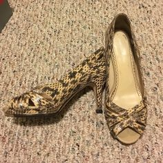 Genuine snake skin Johnston & Murphy open toe heel These genuine snake skin heels are the perfect to addition to any person's wardrobe. From the wonderful Johnston & Murphy shoe store. Super high quality, super chic. Make your friends jealous! Johnston and murphy Shoes Heels