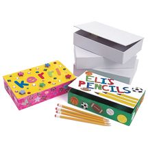 White Cardboard Pencil Boxes - Set of 12 Box-  for their Daisy tunics with lots of stickers and an adorable picture of each girl!
