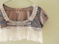 Cropped shirt. Beautiful antique lace.