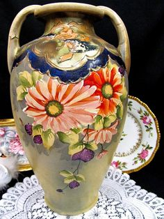 Made in Japan huge vase painted urn handles Japanese pottery floral gold gilt Vases For Sale, Japanese Pottery, Earthenware, Urn, Hand Painted, Floral, Gold, How To Make, Painting