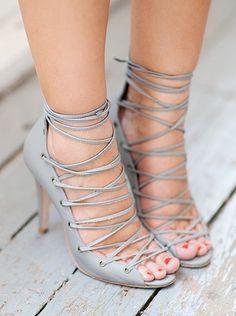 Cage Lace Up Heels / zimmerman
