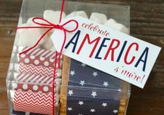 What a perfect s'more party favor or hostess gift for the Fourth of July!  Just use Avery full-sheet labels for the free printables. You can also make your own personalized tags and wrappers with Avery labels and tags and free designs at avery.com/print.