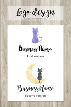 Cat and moon logo design in two versions! Perfect for pet shops! #logo #cat #petshop