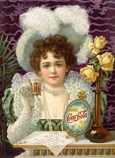 1889 – One of the fist ads in coca-cola commercial history. The poster is designed in the times of era. Lady in fashionable in XIX cent...