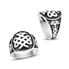 Beelogold - 925K Sterling Silver Carved Embossed Handmade Medicine Medical Men Ring