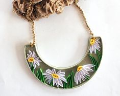 Crescent quilling paper necklace with white daisies, necklace with flowers, ecojewelry, paper jewelry