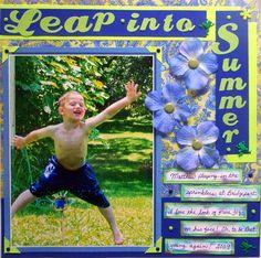 My Mind's Eye - Leap into Summer, #Boy's Summer layout, #Boy scrapbook layout, #Summer Scrapbook layout, #Blue layout, #My Mind's Eye,