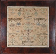 Sampler by Ann Y. Pennock  Chester County, PA dated 1835