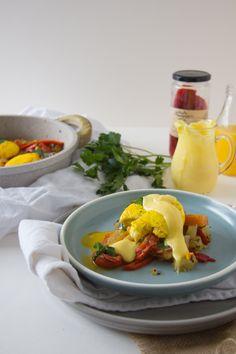 Casserole and homemade hollandaise Yellow Potatoes, Hollandaise Sauce, Roasted Peppers, Egg Cups, Poached Eggs, Sweet Potato, Casserole, Brunch, Stuffed Peppers