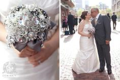 Brooch Bouquet created in a pewter palette w Citron Swarovski Crystal inserts. BLINGED OUT! Photo by Corina V. Photpgraphy, Toronto, ON WEDDING BOUQUET $ 550 CAD