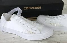 Sparkle Converse White Monochrome Canvas Low Chuck Taylor Sprinkle Glitter  Bling Bride w  Swarovski Crystal Rhinestone Wedding Sneakers Shoe 8b5d98d7fba0