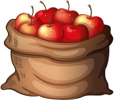 Colorful Clip Art for The Fall Season: Sack Of Apples - Healthy food time Fruit Clipart, Food Clipart, Cute Clipart, Fruit Bio, Fruit And Veg, Flowers Wallpaper, Poster Photo, Halloween Quilts, Pics Art