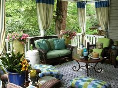 Colorful porch with curtains