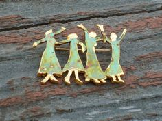 Cookie Lee Four Women Metal & Enamel Brooch - Item #73051 - New!