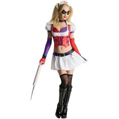 Batman Arkham City Asylum Harley Quinn Adult Costume ($55) ❤ liked on Polyvore featuring costumes, halloween costumes, adult nurse costume, jester costume, joker halloween costume, white nurse costume and white costume