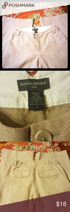 "Banana Republic wool slacks Wool dress pants tan with white chevron pattern (see 2nd photo). Wide leg with slight flare.  Fully lined and super comfy.  Front and back pockets and waist is adjustable in back.  EUC!! Measurements laying flat: inseam 32"", waist 15.5"" front rise 8"" ankle 11.5"".  OPEN TO OFFERS!!  15% OFF BUNDLES 3+!! Banana Republic Pants"
