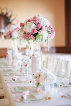 Tall Pink and White Centerpiece | photography by http://www.brookeimages.com/
