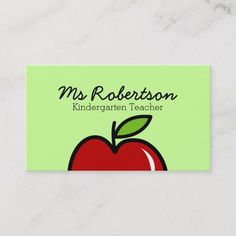 Shop Teacher business card template with red apple created by logotees. Teacher Business Cards, Create Business Cards, Business Cards Online, Teacher Cards, Elegant Business Cards, Custom Business Cards, Business Card Design, Teacher Gifts, Business Resume Template