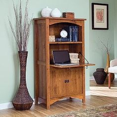 Contemporary Computer Armoire with Drop Down Work Surface