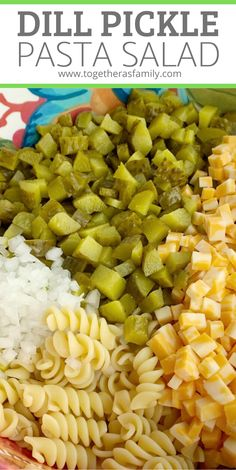 Dill Pickle Pasta Salad Recipe Dill Pickle Pasta Salad Will Be An Instant Favorite Tender Spiral Pasta, 2 Cups Of Diced Pickles, Cheese, And Onion Covered In A Ultra Creamy Homemade Dill Dressing With Pickle Juice. Dill Pickle Pasta Salad Recipe, Pasta Salad Recipes, Recipes With Dill, Easy Dill Pickle Recipe, Recipe Pasta, Pasta Dishes, Food Dishes, Pasta Salat, Spiral Pasta