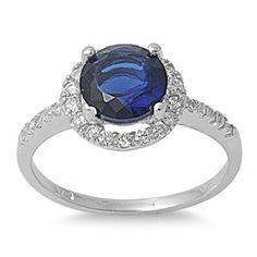 925 Sterling Silver Round 2.20 Round Deep Blue Sapphire Diamond CZ Wedding Engagement Anniversary Halo Diamond Accent Dazzling Ring