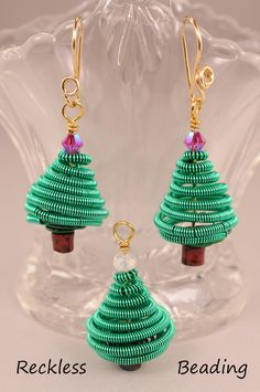 Coiled Wire Christmas Tree Earrings in my Etsy shop.