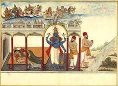 Birth of Krishna.  Album of 89 illustrations of the Bhagavata Purana.  Probably Tamil Nadu and south-eastern Karnataka current (up to Kanchipuram and Mysore). c.1780-1785