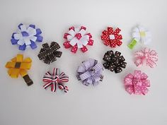 flower hair bows made with ribbon