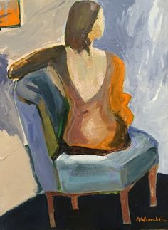 """Daily Painters Abstract Gallery: Contemporary Female Figurative Oil Painting, Interior View,""""A MOMENT IN TIME"""" by Oklahoma Artist Nancy Junkin"""