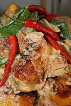 Roast chicken with chilli and basil / Ottolenghi