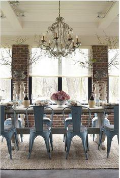 exposed brick + chandelier