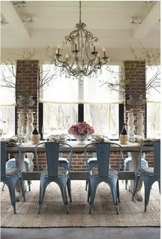 exposed brick + chandelier