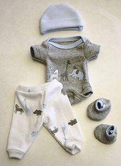 Sculpted OOAK Baby Doll Clothes Bodysuit Tiny Mini Reborn Micro Preemie 9""